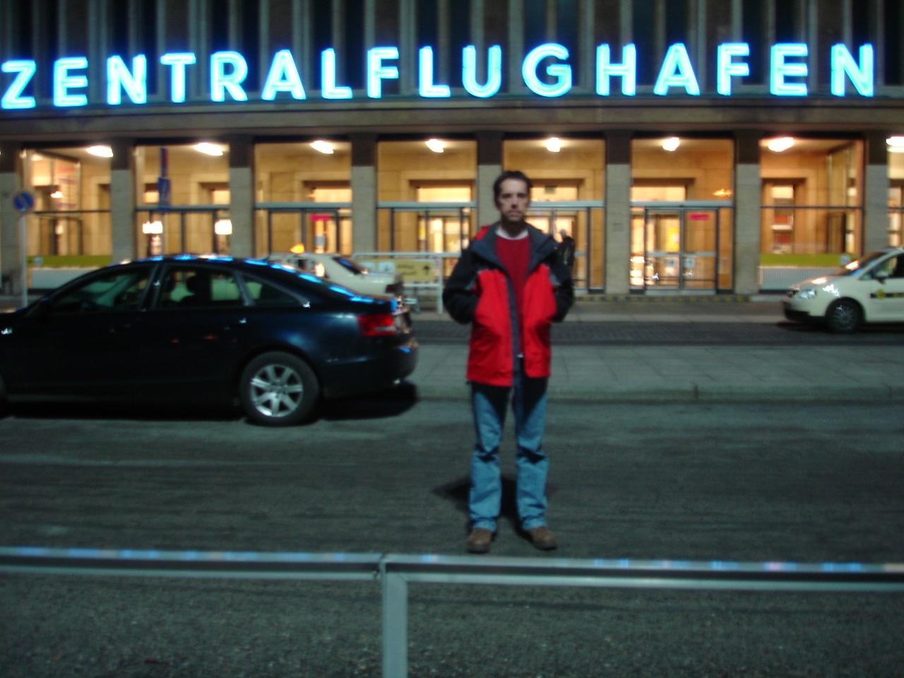 Blair in front of Tempelhof airport